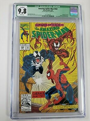 Amazing Spider-Man #362 CGC 9.8 Qualified Carnage Venom Human Torch White Pages
