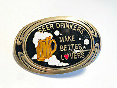Vintage 1983 Beer Drinkers Make Better Lovers Solid Brass Nap Inc Belt Buckle