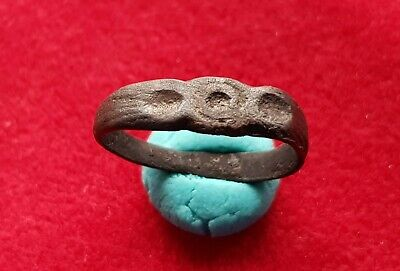 EVIL EYE - Ancient Celtic bronze amulet ring - circa 200 BC