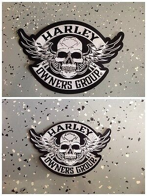 """Harley Owners Group """"Hog"""" Large 10 1/2"""" & Small 5"""" Skull Patches"""
