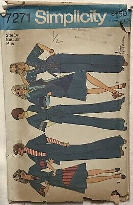 VTG Simplicity 7271 Misses Unlined Wrap Jacket, Skirt And Pants Size 14