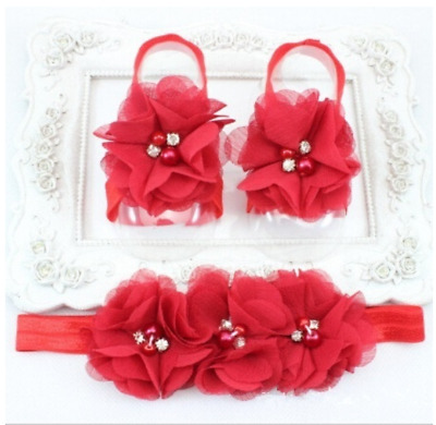 Red Baby Foot Flower Barefoot Sandals + Headband Set