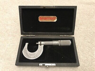 "STARRETT NO. T230FL  MICROMETER , .0001"" 1 Inch   With Case  Vintage"