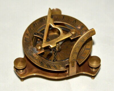 "Antique vintage brass 3"" compass maritime marine nautical sundial compass brown"
