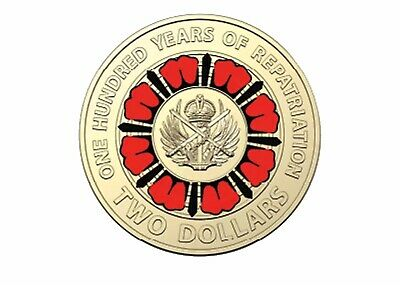 2019 2 Dollar Red Coloured Coin 100 years of Repatriation EX Mint Bag UNC