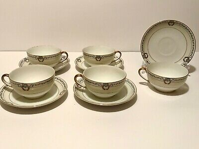 VINTAGE 10pc NORITAKE CHINA BRIARCLIFFE TEA CUPS & SAUCERS JAPAN PORCELAIN GOLD