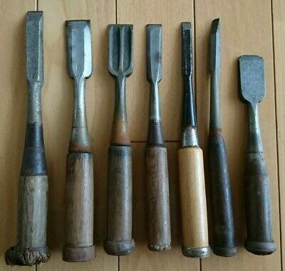 Japanese Used Chisel Nomi with Sign Set of 7 Carpentry Tool Japan Blade