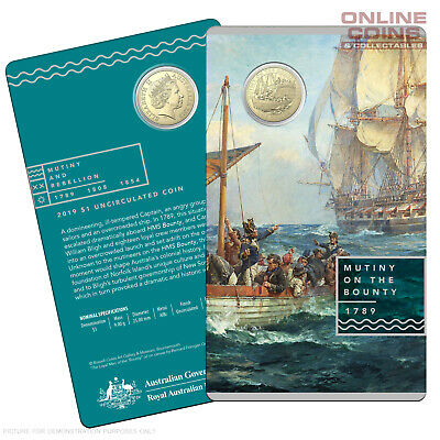 2019 RAM $1 Uncirculated Coin In Card - Mutiny and Rebellion - The Bounty