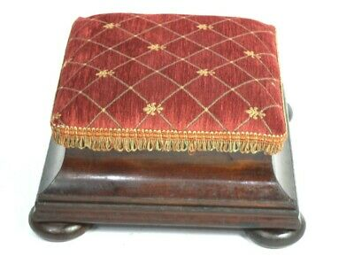 Antique Victorian Mahogany Foot Stool Re-Upholstered - FREE Shipping [5148]