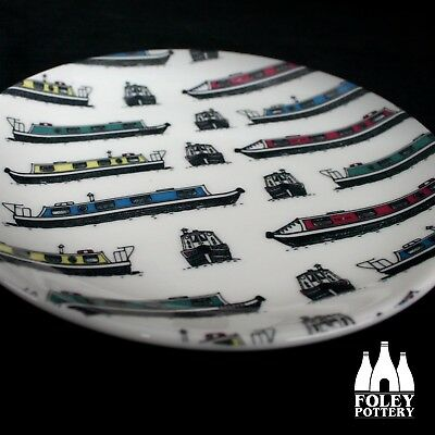 """Canal Boat inspired 8/"""" Plate By Foley Pottery OTC: Narrowboat Canals Barge"""