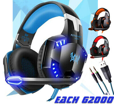 KOTION EACH G2000 Gaming Headsets Headphones w/ Light Mic Stereo FOR PS4 XBOX