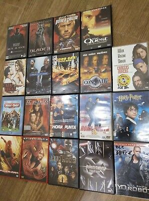 LOTE 19 DVDs VARIOS FAST FURIOUS MARVEL SPIDERMAN IRON MAN X MEN POTTER BLADE