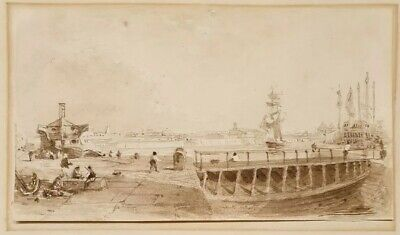 Early 19th.Century British Watercolour Drawing Naval Dockyard Landscape 1800s