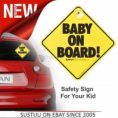Pack of 2 x Baby on Board Child Safety Car Window Sign With Suction Cup 13 cm