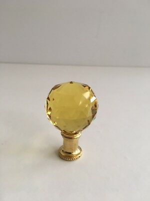 Yellow 40Mm Crystal Ball & Brass Lamp Finial