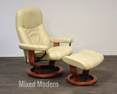 White Cream Leather Ekornes Lounge Chair And Ottoman Teak Recliner Danish Modern
