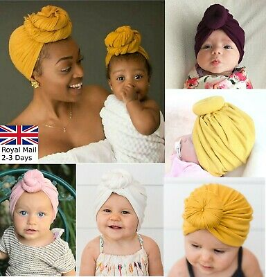 Baby Girls Women Bun Knot Spiral Turban Head Wrap Cute Kids Ear Hat Cotton Cap