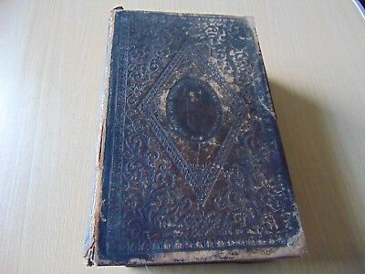 ANTIQUE 1846 EMBOSSED LEATHER HOLY BIBLE 19th CENTURY