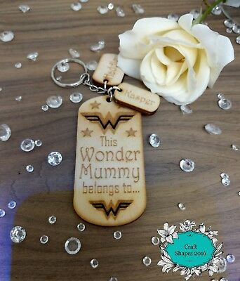Personalised Wooden Keyring, Mummy, Mum, Nana, WONDER WOMAN, Gifts, Christmas