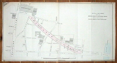 LONDON CITY PLANNING, STREET PLAN, MANSION HOUSE,CHEAPSIDE antique map 1838