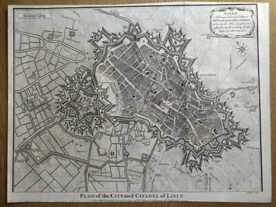 LILLE, LISLE, BELGIUM City plan, fortifications Rapin/Tindal antique map 1745