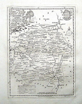 WILTSHIRE, T.Kitchen, England Displayed Kitchin  Antique County Map 1769