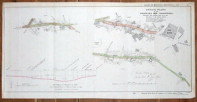 LONDON STREET PLAN, BANK, LONDON WALL,BARBICAN,HOUNDSDITCH, antique map 1838