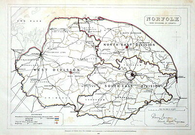 NORFOLK, Large Format Boundaries Commission Antique County Map 1868