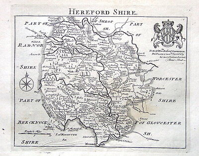 HEREFORDSHIRE,  John Roque , England Displayed Antique County Map 1769