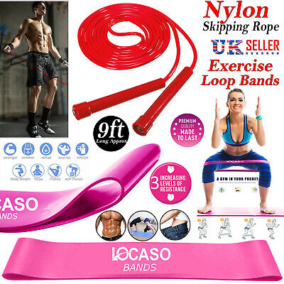 Skipping Rope And Resistance Elastic Loop Band Adjustable Home Workout Yoga Gym