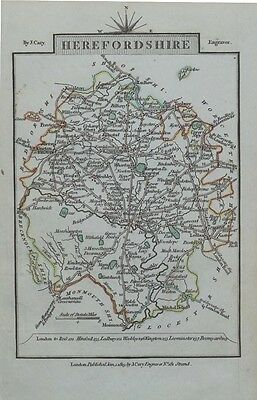 HEREFORDSHIRE John Cary Original Hand Coloured Miniature Antique County Map 1819