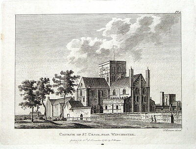HAMPSHIRE,WINCHESTER CHURCH OF ST CROSS  Grose,Hooper Antique Print 1783