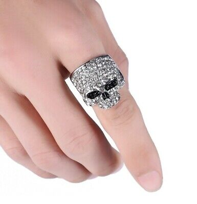 Chino Antrax Crystal Skull Ring Rock Punk Gold Silver Black Mens Biker Jewelry