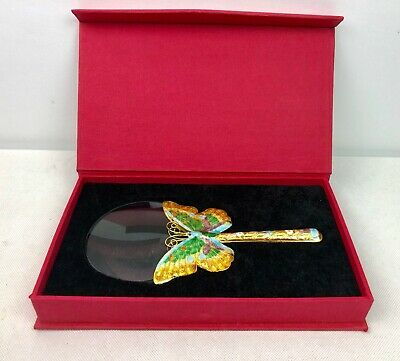 Collectable Decorative Cloisonne Butterfly Magnifying Glass With Box 19cm