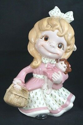 Vintage 1972 Ceramic Girl Baby Doll Sweet RARE Detailed Hand Painted Herrell