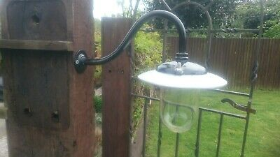 Vintage Industrial gec Cast Iron and alloy Swan Neck Outside Light Lamp