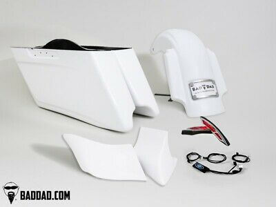 Bad Dad Race Series Stretched Rear Fender Saddlebag Kit Package Harley