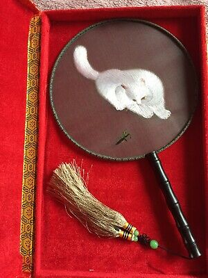 Handmade Embroidery Fan Silk White Cat Boxed