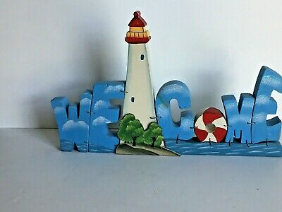 """Wooden Nautical LightHouse WELCOME Sign Plaque Table Top 15.5x9 3/4"""" Wired"""