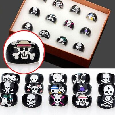 Mixed Wholesale Job Lot Resin Lucite Child Black Skull Design Cute Vintage Rings