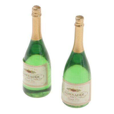 Miniature Wine Champagne Bottles Model for 1/12 Dolls House Kitchen Decor