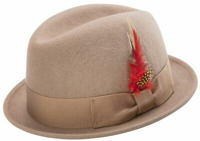 e7a00a7e12334 Montique Men s Camel Center Crease Stingy Snap Brim Hard Felt Fedora Hat H53