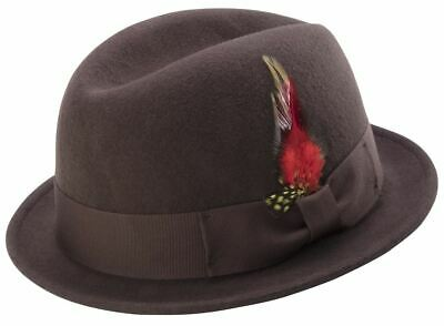 949edafe224f1 Montique Men s Brown Center Crease Stingy Snap Brim Hard Felt Fedora Hat H53