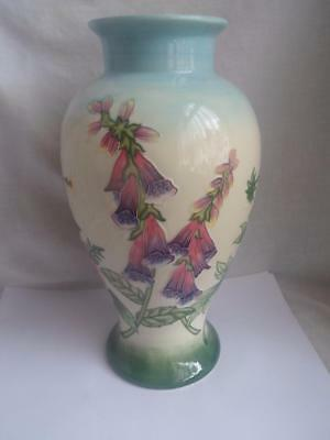 Old Tupton Ware Tube Lined Hand Painted English Garden  Large - 14 1/2 inch Vase