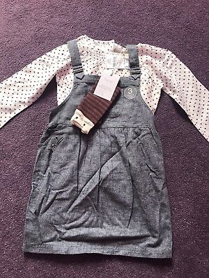 Next 5-6 Years Bnwts Pinafore Dress Spotty Blouse And Knee High Socks
