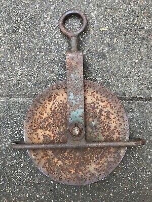 Vintage Pulley Wheel Industrial Reclaimed Salvage Antique Large Metal