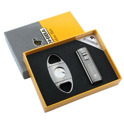Cohiba Silver Metal 3 Torch Jet Flame Cigarette Cigar Lighter W/Punch Cutter Set