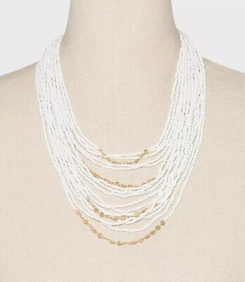"SUGARFIX BY BAUBLEBAR White Beaded Statement 10"" Necklace"