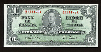 1937 Bank of Canada $1 - Gordon/Towers Signature - S/N:N/M1111721 BC-21c
