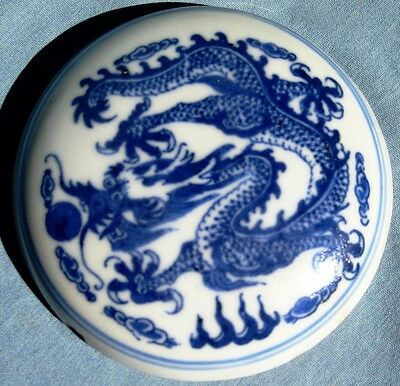 Antique Chinese Blue & White Porcelain Dragon Pill Box